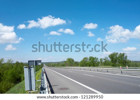 highway on sky background - stock photo
