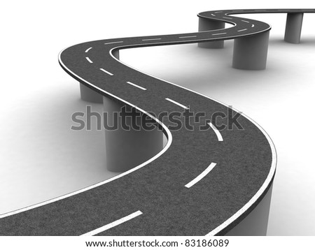Highway- perspective view - stock photo