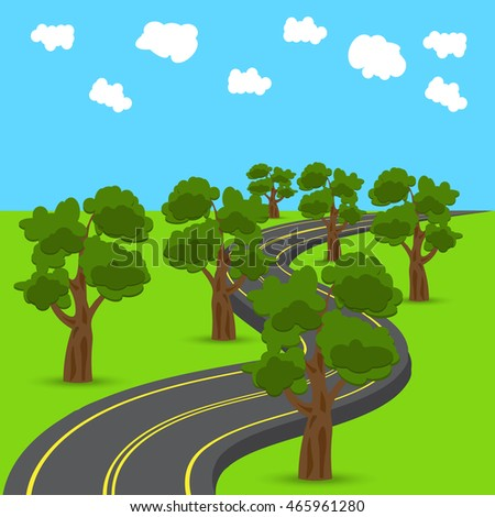 Highway receding into the distance in the animated style. Green oak trees on the edges of the road. Raster illustration