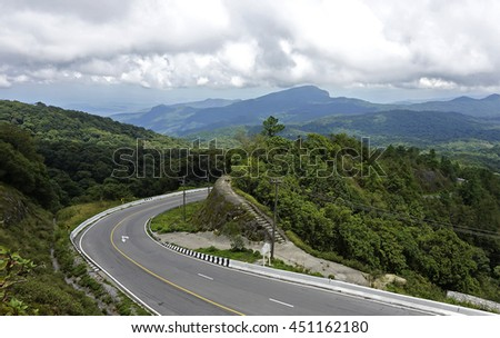 Highway road against mountains