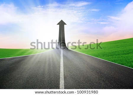 Highway road going up as an arrow symbolizing success, growth, or opportunity - stock photo