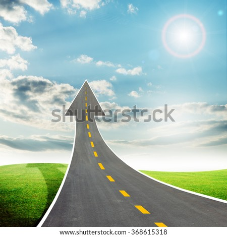 Highway road going up llike arrow - stock photo