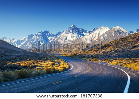 Highway / Road in USA mountains - stock photo