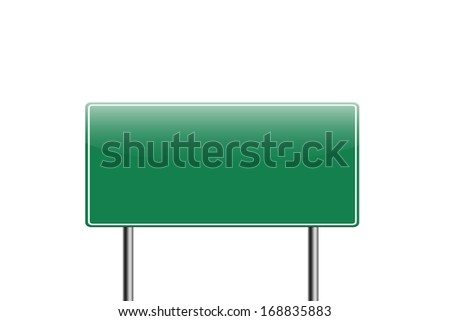 Highway road sign isolated on white background.