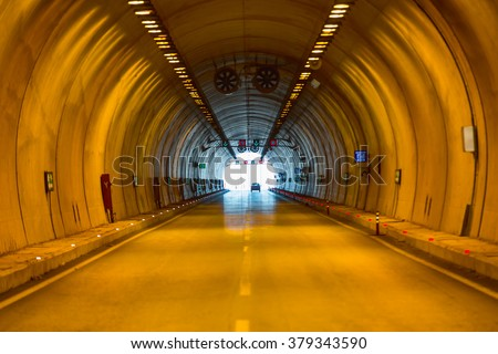 highway road tunnel - stock photo