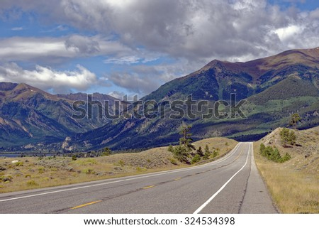 Highway 82 Rocky Mountains vista near Twin Lakes, Colorado, U.S.A.