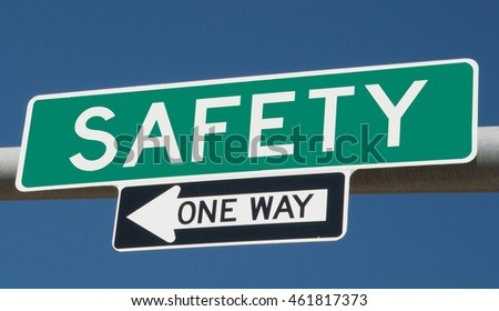"Highway sign ""safety one way"""