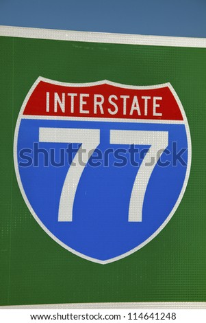 Highway 77 - sign seen in Cleveland, Ohio. - stock photo