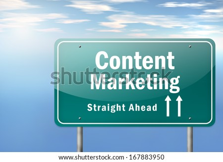 Highway Signpost with Content Marketing wording - stock photo