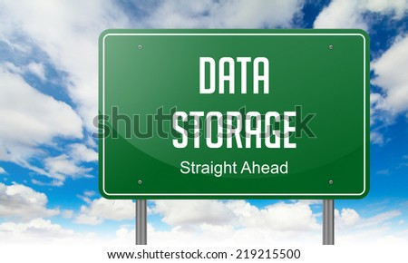 Highway Signpost with Data Storage wording on Sky Background. - stock photo