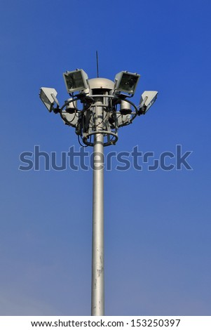Highway spotlight or floodlight with nice blue sky background