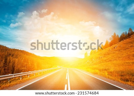highway to sunset - stock photo