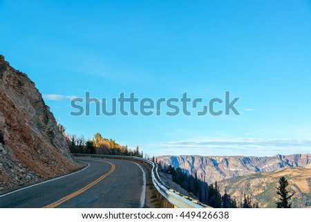 Highway to Yellowstone National Park with the Beartooth Mountains in the background near Red Lodge, Montana