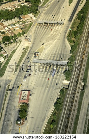 Highway toollway plaza aerial view - stock photo