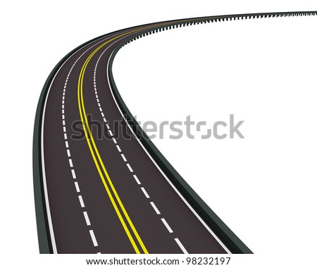 highway turned right isolated on white background