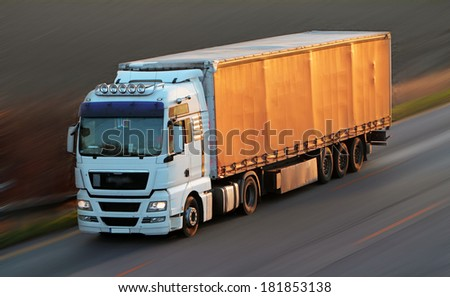 Highway with cars and Truck - stock photo