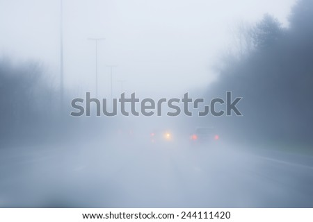 highway with fog  - stock photo