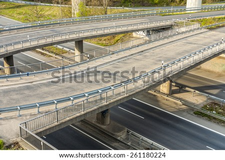 Highway with junction and bridge - rush concept - stock photo