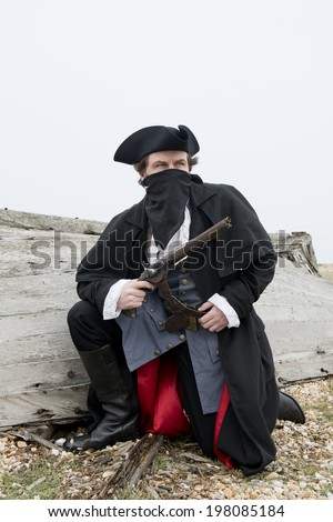 Highwayman/Pirate With Pistol - stock photo