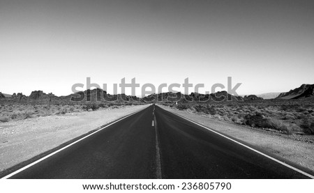 Highways and roads at the Valley of Fire / Black Top - stock photo