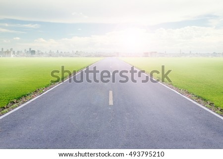 Highways road with blue skies and city background.