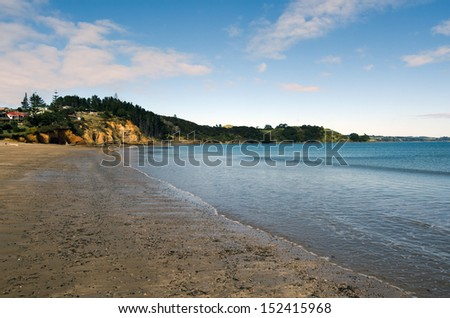Hihi beach, a famous travel destination in northland New Zealand. - stock photo