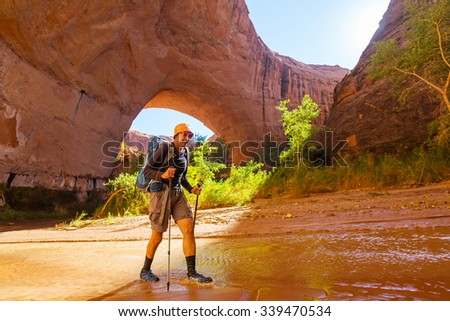 Hike in Coyote gulch, Grand Staircase-Escalante National Monument, Utah, United States - stock photo