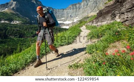 Hike in Glacier National Park,Montana - stock photo
