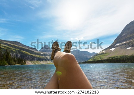 Hike in Glacier National Park, Montana - stock photo