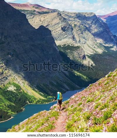 hike in Glacier National Park,USA - stock photo