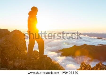 Hike in Madeira mountains - stock photo