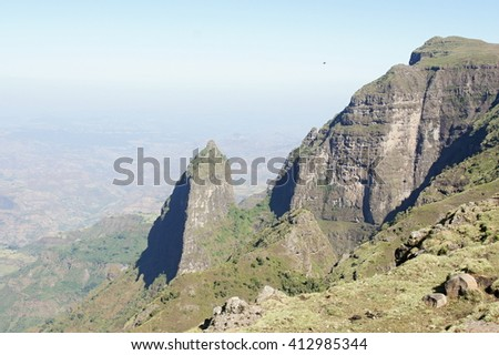 Hike in Simien mountains, Ethiopia - stock photo