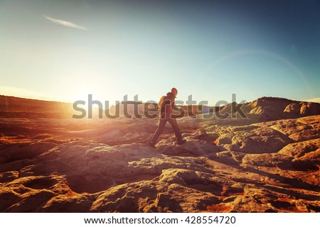 Hike in the Utah mountains - stock photo