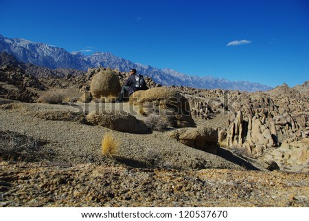 Hike through the Alabama Hills, California - stock photo
