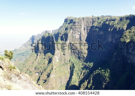 Hike trough mountain ridge in Simien mountains, Ethiopia