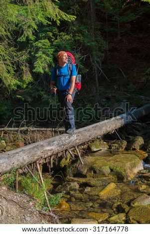 Hiker crosses  mountain river by a makeshift bridge. Traveler is looking into the distance on the background of coniferous forest.