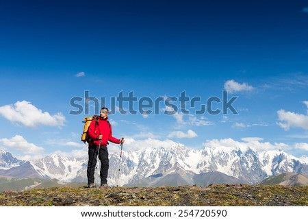 hiker enjoy sunny day - stock photo