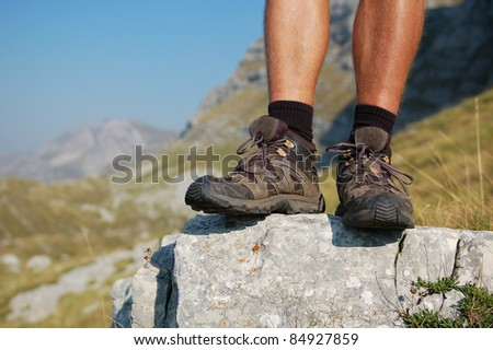 Hiker/Hiking Boots and Legs of a Man Overlooking Mountain