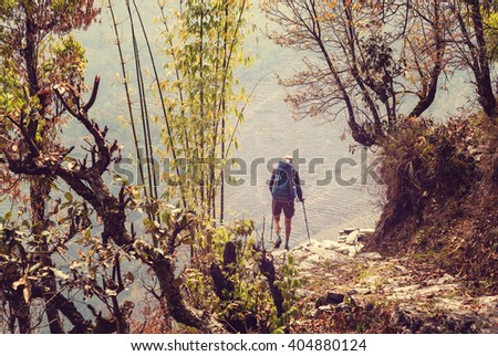 Hiker in Himalayan jungles, Nepal, Kanchenjunga region - stock photo