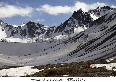 Hiker in spring snowy mountains. Turkey, Kachkar Mountains (highest part of Pontic Mountains).