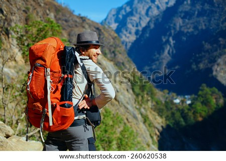 hiker in the Hamalayas mountains. Trek around Annapurna mount - stock photo