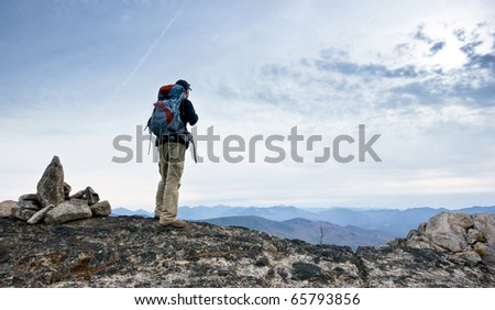 Hiker in the rugged Jay Mountain Wilderness, in the Adirondack Park of New York - stock photo