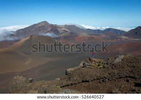 Hiker in the Summit Crater, Haleakala National Park - medium