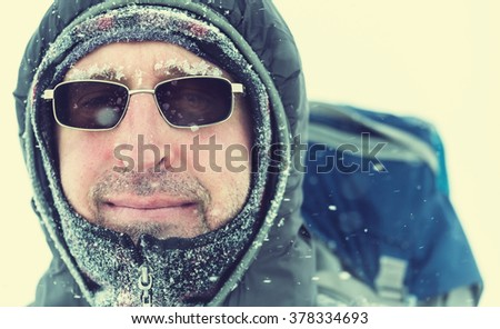 Hiker in winter season