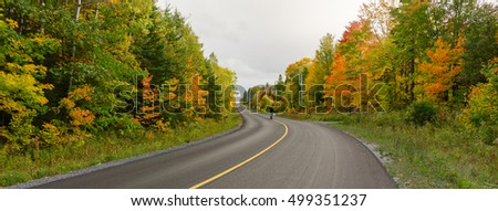 Hiker on a road in fall