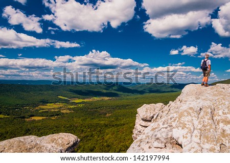 Hiker on Big Schloss, in George Washington National Forest, Virginia. - stock photo
