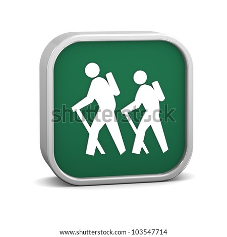 Hiker sign on a white background. Part of a series. - stock photo