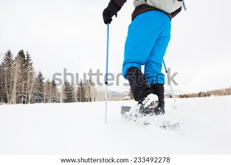 Hiker Snowshoeing on Open Terrain - stock photo