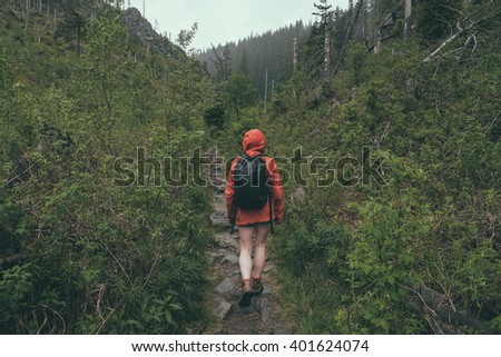 hiker walking through wilderness  in heavy rain wearing rainshell jacket