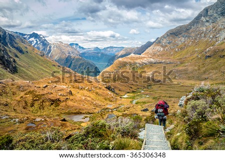 Hiker with Big Backpack Walks the Routeburn Track, New Zealand - stock photo